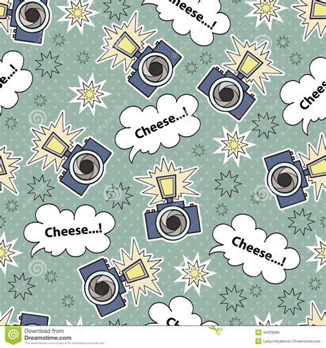 pattern background camera vector seamless pattern with cartoon camera stock vector