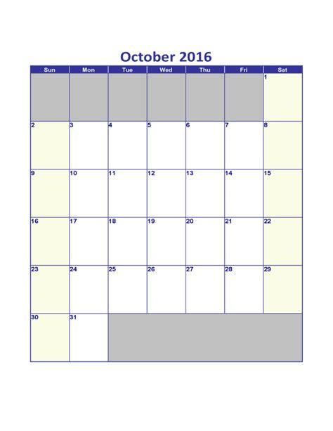 Calendar October 2016 October 2016 Calendar Free