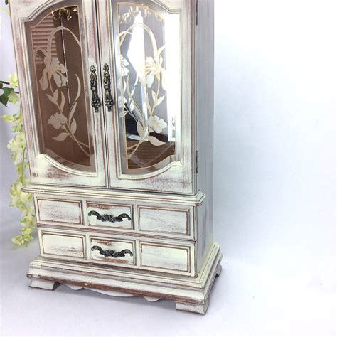 tall jewelry armoire tall white jewelry armoire for sale jewelry box shabby chic