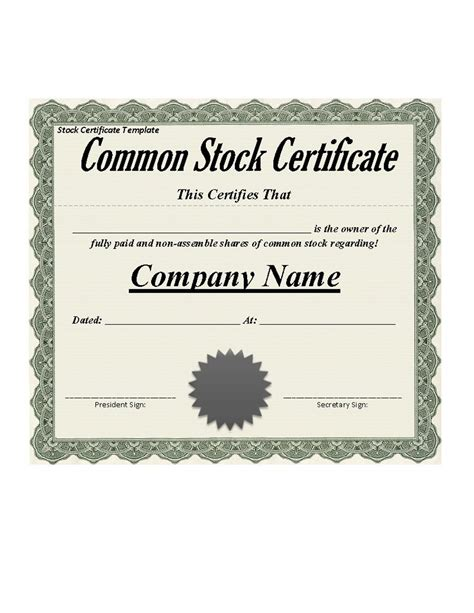 41 free stock certificate templates word pdf free