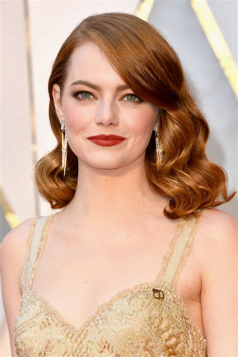 red hair 40s emma stone s oscars 2017 hair and makeup pret a reporter