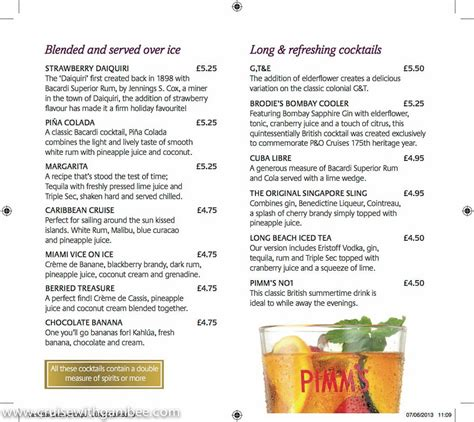 cocktail drinks menu mixed drinks menu