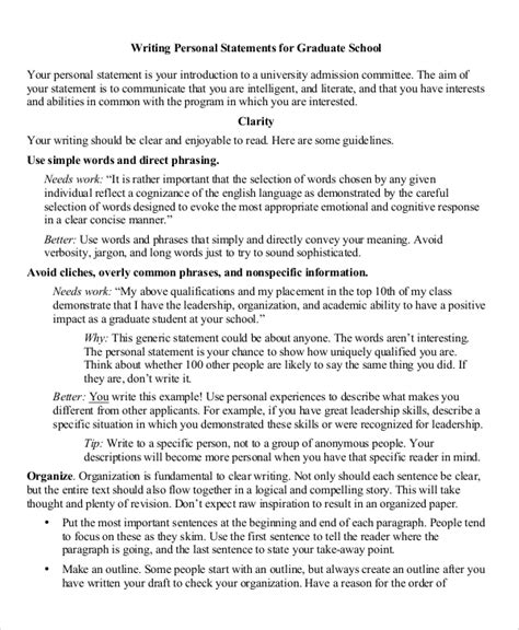 8 Personal Statement For Graduate School Sles Sle Templates Personal Statement Template Graduate School