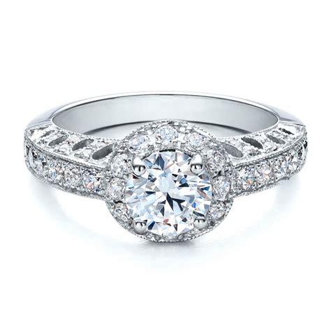 Filigree Engagement Ring by Halo Filigree Milgrain Engagement Ring Vanna K 100097