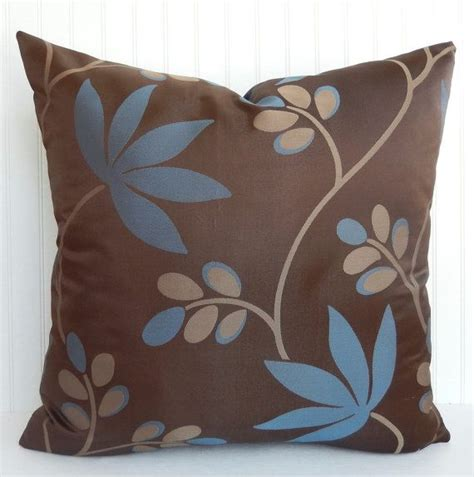 Blue And Brown Decorative Pillows by Blue And Brown Pillow Cover Throw Pillow Foliage Leaf