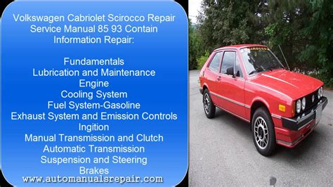 free auto repair manuals 1989 volkswagen cabriolet on board diagnostic system vw cabriolet scirocco 85 93 services repair manual youtube