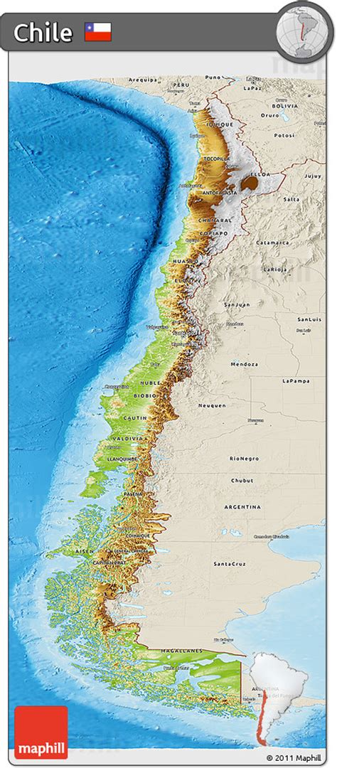 physical map of chile free physical panoramic map of chile shaded relief outside