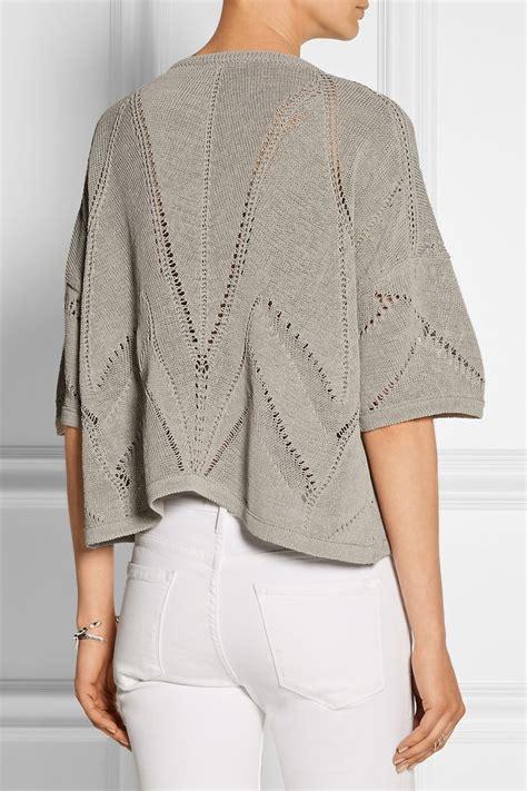 knitting pattern linen sweater helmut lang cropped knitted linen blend sweater net a