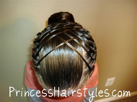 short hair gymnastics style woven french braid ponytail hairstyles for girls