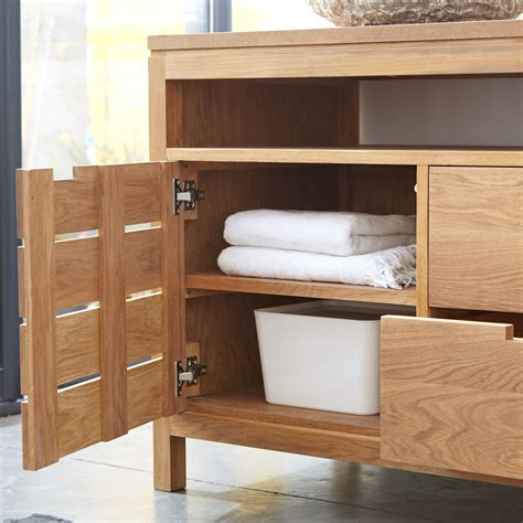 tikamoon solid oak bathroom washstand vanity cabinet