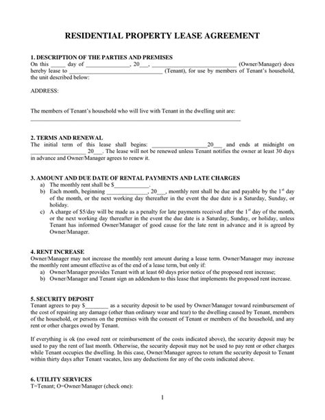 Residential Property Lease Agreement In Word And Pdf Formats Residential Property Lease Agreement Template