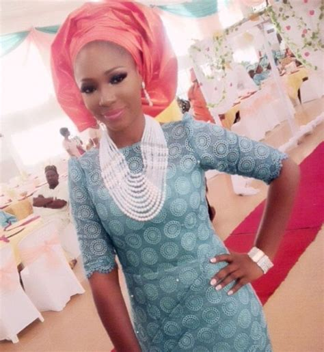 peach navy blue nigerian turquoise blue lace with coral orange gele and white beads