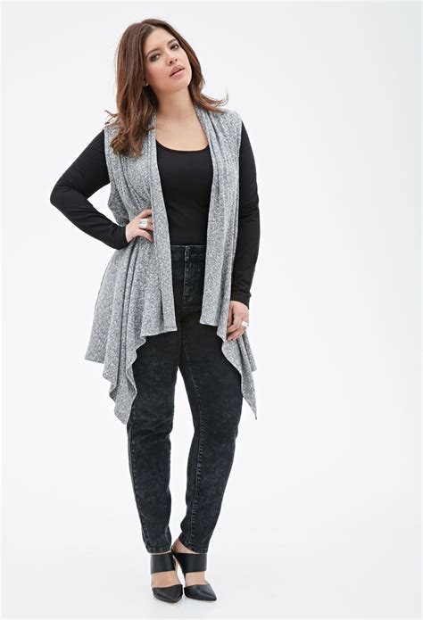 Cardigan Forever 21 lyst forever 21 plus size sleeveless marled cardigan in black