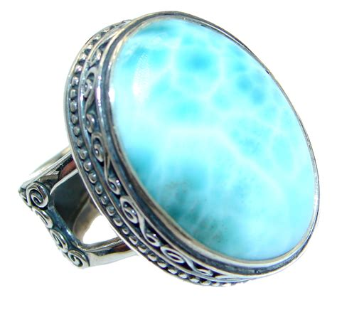 Sterling Silver Handmade Rings - genuine larimar oxidized sterling silver handmade ring