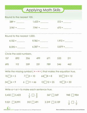3rd Grade Math Review Worksheets by Math Review Worksheet Education