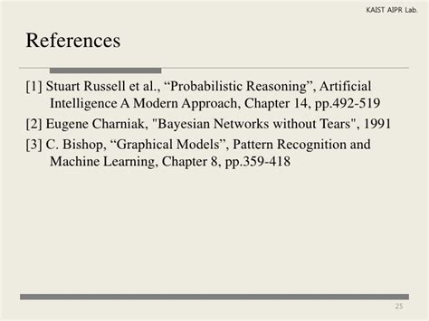 pattern recognition and machine learning reference jylee probabilistic reasoning with bayesian networks