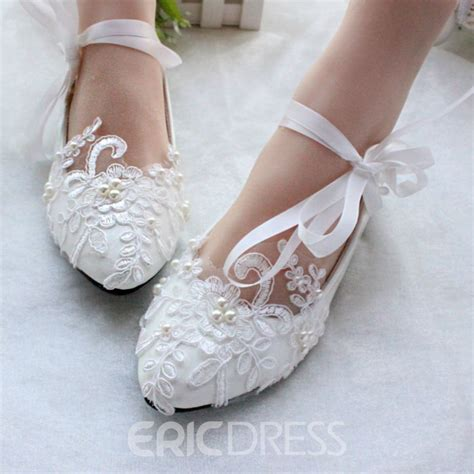 White Wedding Flats by Ericdress Lace Flat Wedding Shoes 11460172 Ericdress