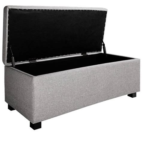 large fabric storage ottoman large fabric cushion top storage ottoman in grey buy 30