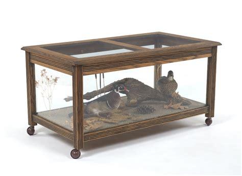 custom made coffee table with display taxidermy wood ducks