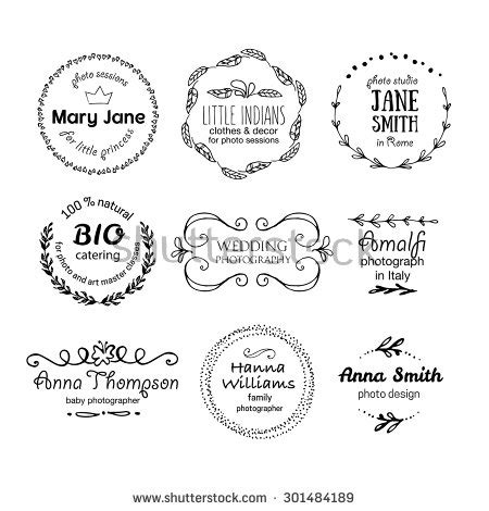 Vector Collection Of Photography Hand Drawn Logo Templates Wedding Family Children Photography Label Templates