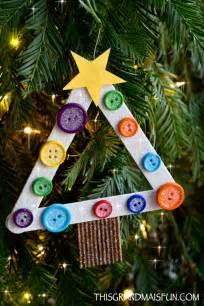 Child Handmade Ornaments - diy craft stick tree ornament tgif this