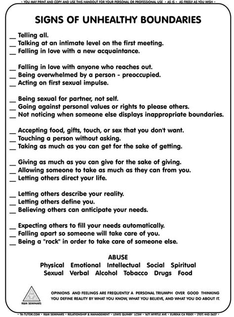Signs of Unhealthy Boundaries worksheet | High School