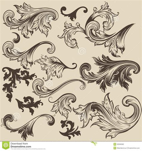 vintage design elements vector set 23 set of vector swirls in vintage style for design stock