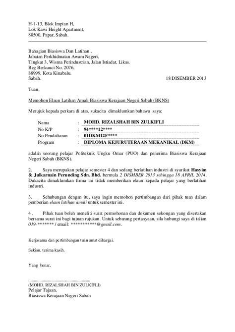 Format Memo Jabatan Kerajaan Surat Memohon Elaun Latihan Amali Bkns