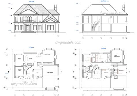 two story house plans dwg free cad blocks