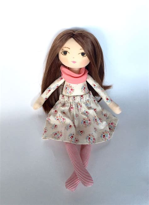 Handmade Soft Dolls - handmade doll rag doll cloth doll brown hair gift for