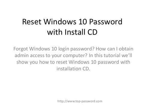 reset windows xp password with installation cd reset windows 10 forgotten password with install cd