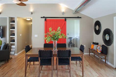 diverse dining rooms  sliding barn doors