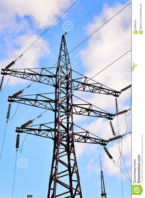 electric pole wires high voltage electric pole with wires stock photo image