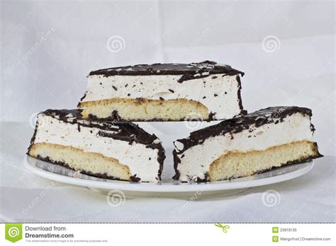 Pieces Of Three pieces of biscuit cake royalty free stock photo