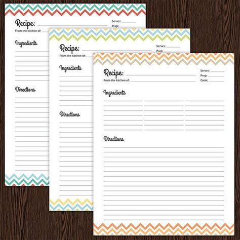 printable recipe card full page recipe cards chevron and cards on pinterest