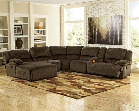 ashley 567 sectional reclining fabric sectionals
