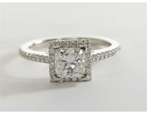 Princess Cut by Princess Cut Halo Engagement Ring In Platinum