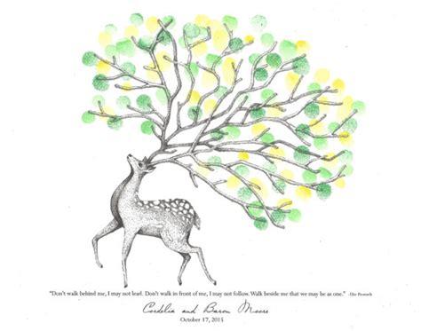 tree made out of deer antlers deer with tree branch antlers fingerprint guest book shower