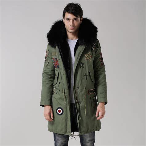 Jaket Parka Green Army Jaket Parka Jumbo Parka Cotton Premium uk style army green coat black inside jacket real big raccoon fur collar with faux fur