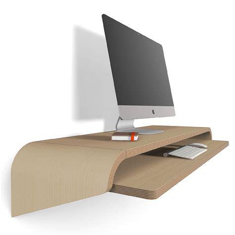 minimal desk minimal float wall desk in rift oak by botanist series