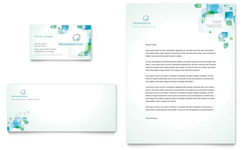 orthodontist business card letterhead template word