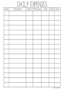 daily expense template daily expenses worksheet printable wendaful