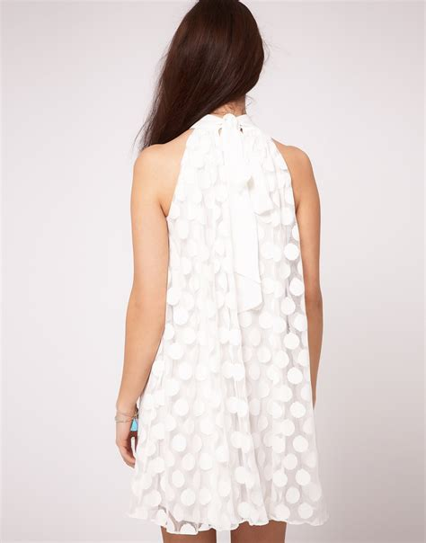 white swing dress river island spot mesh swing dress in white lyst