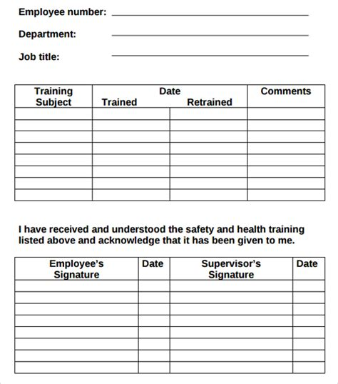 employee record form template log template 8 free documents in pdf doc