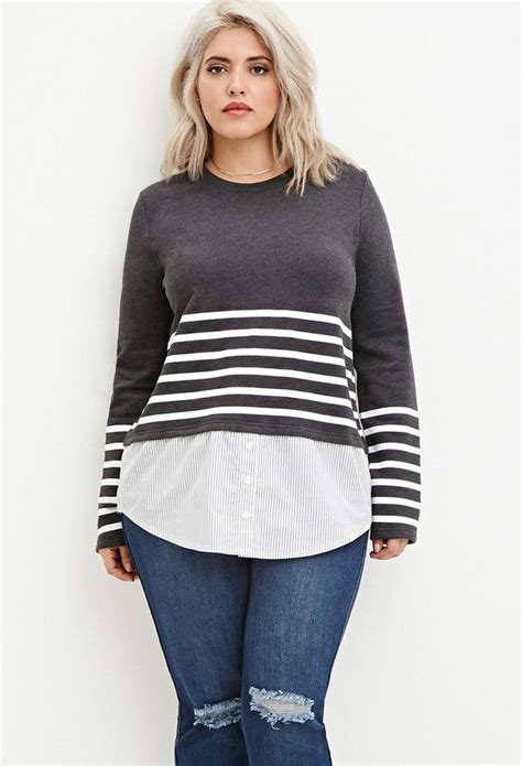 sexy hairstyles for plus size woman with double chins plus size layered stripe top plus size fashion