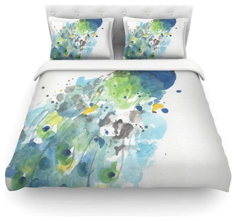 abstract bedding rebecca bender quot abstract watercolor peacock quot duvet cover