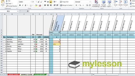 Excel Grade Book Feedback For Students Youtube Excel Grading Template