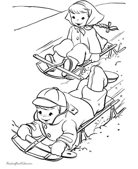 x mas coloring pages sled coloring pages