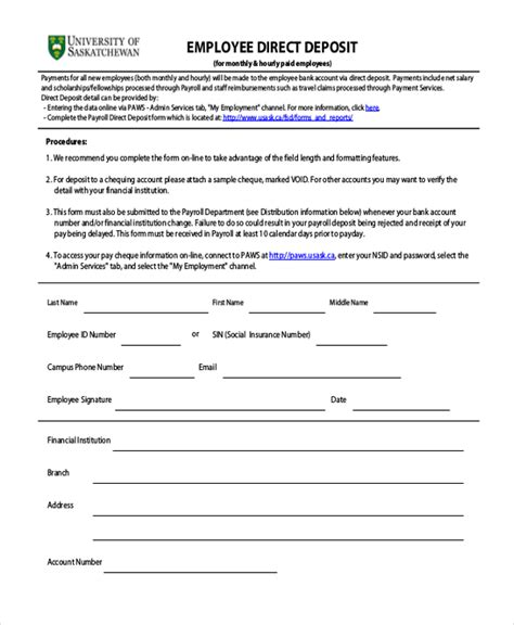 direct deposit forms sle direct deposit form 11 free documents in word pdf