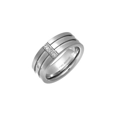 titanium flat court matt center 0 05ct round diamond 7mm ring